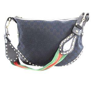 Gucci Black Monogram Studded Pelham Shoulder Bag